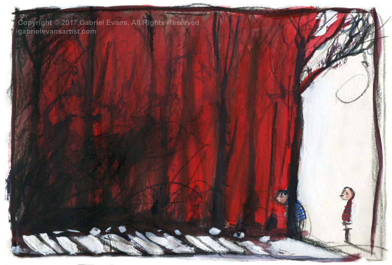 After the Fire #1 - Watercolour, Gouache and Charcoal