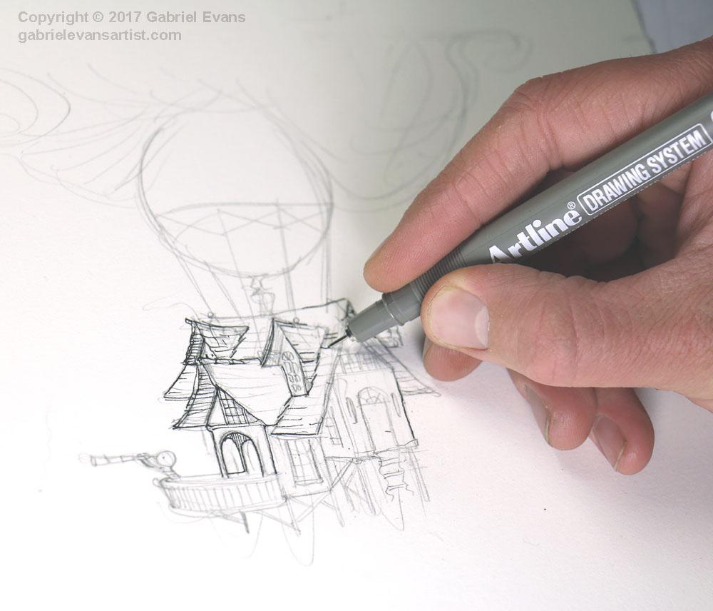 Balloon House Drawing