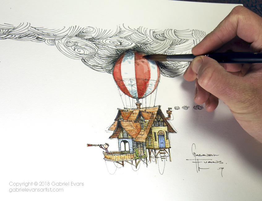 Gabriel Evans - illustration of a Balloon House for IBBY Australia